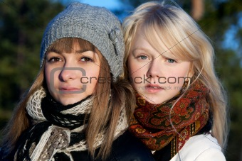 Portrait two young beautiful girls
