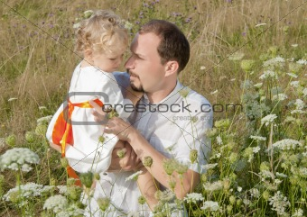 Fahter and daughter in the park