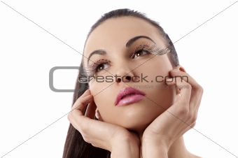 beauty shot of women with creative makeup with thinking pose