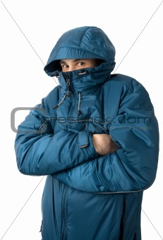 man freezing. Isolated on white background