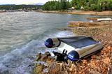 Boat crashed on the sea shore after strong storm