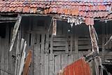 Demolished wooden house