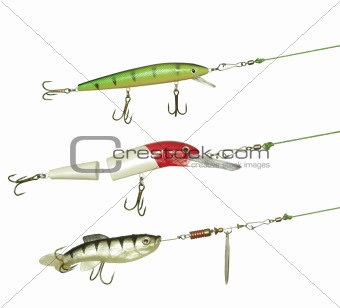 three angling baits for fishing on white background