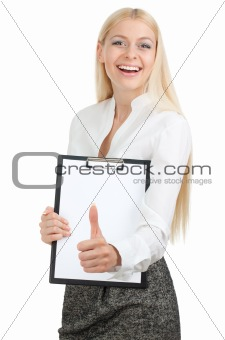 Beautiful woman holds a bulletin board with thumb up