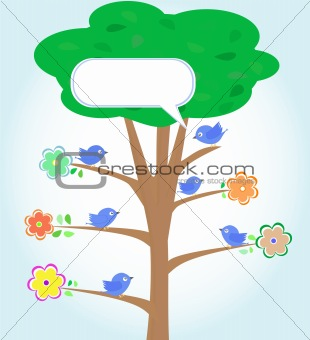 Greeting card with blue birds under tree vector