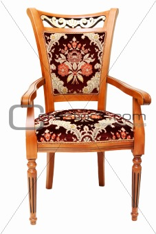 Beautiful wooden chair with expensive drapes