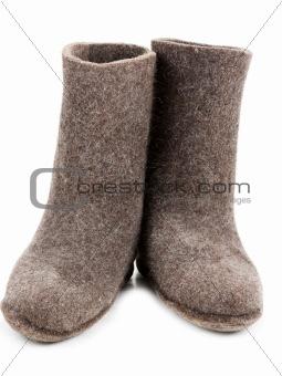 Pair gray woolly lock footwear
