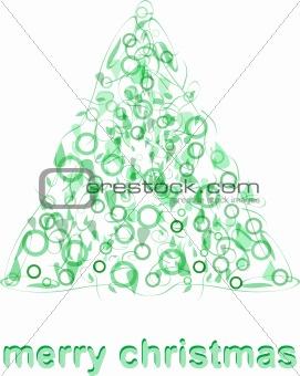 Abstract green christmas tree greeting card blank xmas vector
