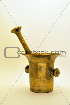 Old brass mortar