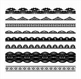 Set of black scalloped vector borders_pack2