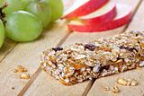 Healthy eating concept with cereal bar