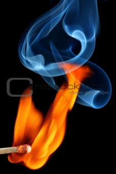 Matchstick bursting to flame