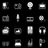 Mass Media icons - black series