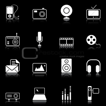Mass Media icons - black series