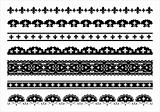 Set of black fleur de lis vector borders