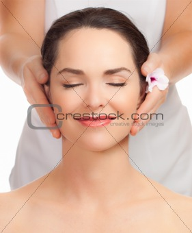 Beautiful young woman getting facial massage