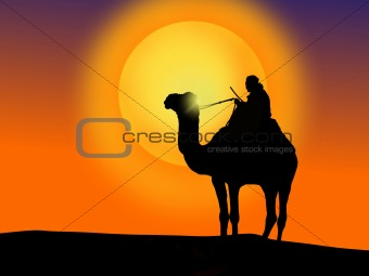 A camel and a man at sunset.