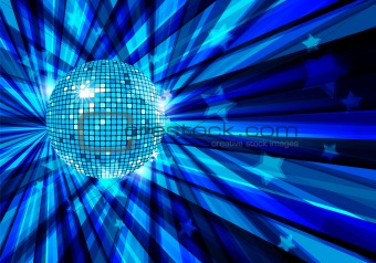 Disco Ball vector background with rays and stars / eps10