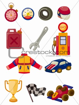 cartoon f1 car racing icon set