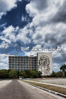 Facade with Che Guevara relief