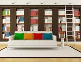 Brown Living room with bookcase