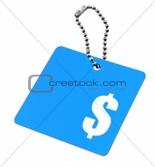 blue tag with dollar symbol