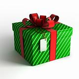 Gift box with red ribbon and green wrapping