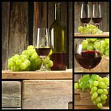 wooden table of wine