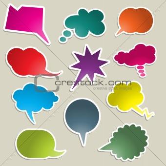 Brightly coloured speech bubbles