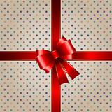 Gift background with red ribbon