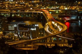 City of Portland Light Trails on Marquam Freeway