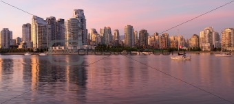 Vancouver BC Skyline along False Creek at Dusk