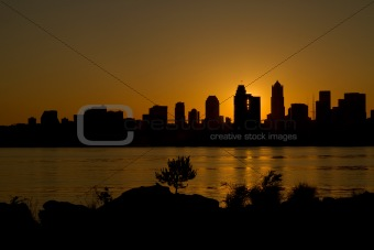 Sunrise over Seattle Skyline along Puget Sound