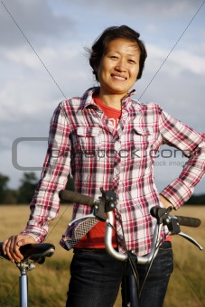 Woman in the park cycling