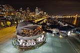 Seattle City Skyline and Marina at Night