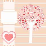 Wedding or Valentine pink background greeting abstract vector