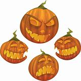 Vector Halloween pumpkin character with different face expressions