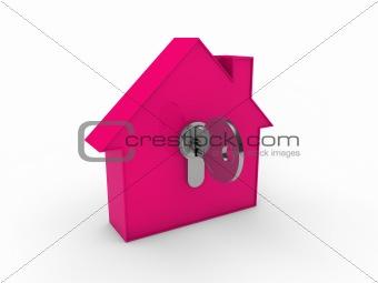 3d house key pink