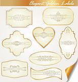 golden labels with calligraphic elements