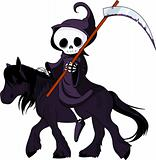 Cartoon grim reaper riding horse