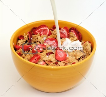 Milk poured in a cereal bowl