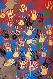 Colored handprints