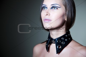 Girl with stylish black collar