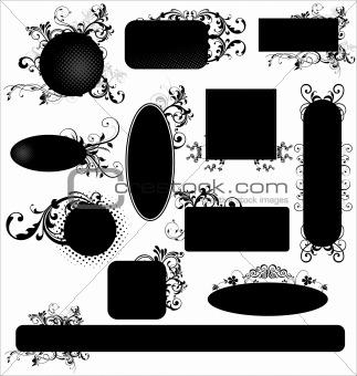 Black floral frames - set