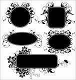 Black floral frames - set