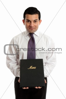 Business owner or waiter presenting a menu folder