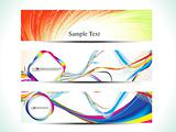 abstract colorful rainbow web banner set