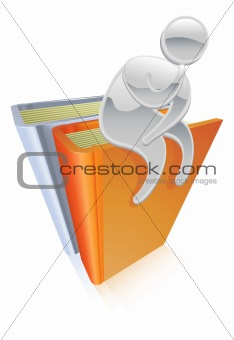 Metallic character sitting on books thinking