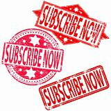 Subscribe Now rubber stamps.