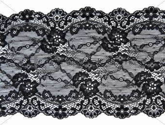 Black lace with pattern in the manner of flower